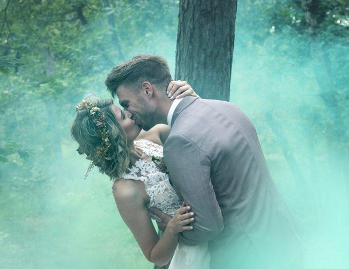 Weddingshoot met smoke fakkel